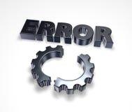 Error and broken cogwheel Royalty Free Stock Photos