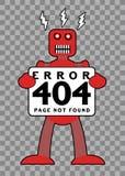 404 Error: Broken Retro Robot. 404 Error: Broken, Red, Retro Robot vector illustration