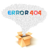 Error 404 bubbles out of the box Royalty Free Stock Photos