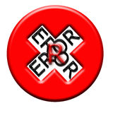 Error button. Stylized red and white error button Stock Image