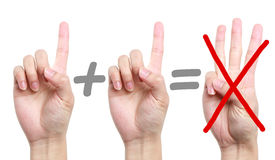 Error Calculation. Fingers showing error calculation one plus one equal three royalty free stock image
