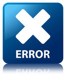 Error (cancel icon) blue square button Royalty Free Stock Images