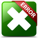 Error cancel icon green square button Royalty Free Stock Photography