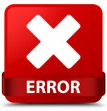 Error (cancel icon) red square button red ribbon in middle Royalty Free Stock Photo