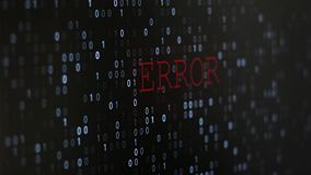 Computer data error. Error computer program code screen with flashing and blinking numbers data, black background royalty free illustration