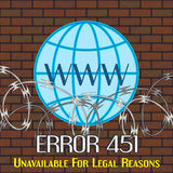 Error 451 concept with barbwire and globe Stock Photo