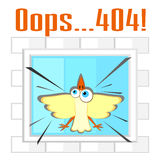 Error 404 concept with bird and window Royalty Free Stock Photo