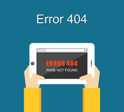 Error concept. Error page not found on tablet screen. Stock Image
