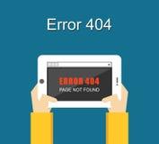 Error concept. Error page not found on tablet screen. Error illustration. Flat design. Error concept. Error page not found on tablet screen Stock Image
