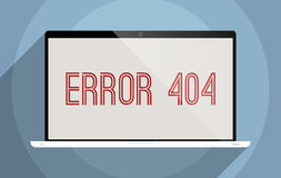Error 404. Concept for media technologies and information society. Flat design illustration Stock Image