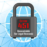 Error 451 concept with network and padlock Royalty Free Stock Photos