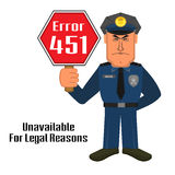 Error 451 concept with policeman Royalty Free Stock Images