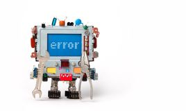 Error concept poster. Handyman robotic computer with hand wrench pliers on white background. Text message Error on blue. Screen. Copy space stock images