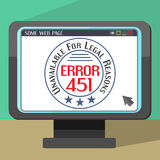 Error 451 concept with stamp on monitor Royalty Free Stock Photo