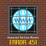 Error 451 concept with window of prison Royalty Free Stock Photo