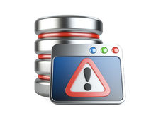 Error database with exclamation mark Stock Photos