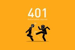 Error 401 del sitio web Autorización requerida stock de ilustración
