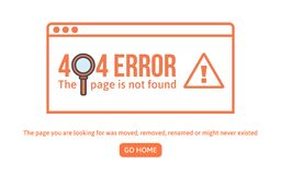 404 error design template. 404 page is not found concept linear style. Page is lost. Website design error. Vector illustration stock illustration