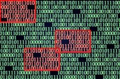 Error detectado en código binario Fotografía de archivo libre de regalías