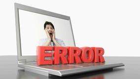 ERROR en el ordenador portátil - vídeo de la representación 3D ilustración del vector