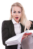 Error found!. Portrait of business lady found an error in the report, isolation on a white background Stock Images