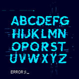Error Glitch Letters. Glitch displacement type letters with fault lines. Vector illustration Stock Photography