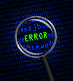 ERROR in green revealed in blue computer machine code. The word ERROR in green revealed in blue computer machine code through a magnifying glass Stock Photos