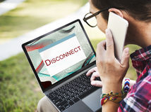 Error Halted System Disconnect Caution Concept. People Having Error System Halted Disconnect stock image