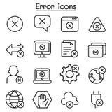 Error icon set in thin line style Royalty Free Stock Photos