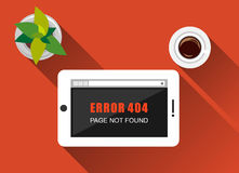 Error illustration. Flat design with long shadow. Error concept. Error page not found on tablet screen. Royalty Free Stock Image