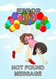 Error 404 illustration girk. A illustration for the page error with the girl who fly with so much balon and look so confused Royalty Free Stock Photo