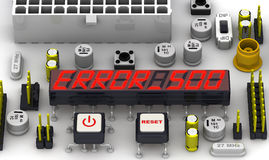 ERROR 500 (Internal server error). The message on the display of the electronic circuit board Royalty Free Stock Photography