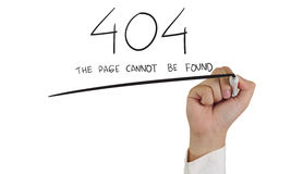 404 error. Internet concept image of a hand holding marker and write 404 error isolated on white stock photography