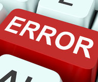Error Key Shows Mistake Fault Or Defects Stock Photo