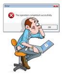 Error on laptop cartoon. Man working on laptop with nonsensical error Royalty Free Stock Image
