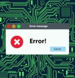 Error massage warning window. Illustration on hi tech electronic isolated background Stock Images