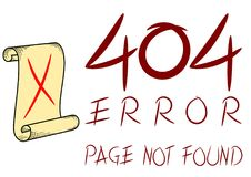 Error 404 Page Not Found Vector. Error message of non existence page of a website.  Illustration of concept used in website design. Image is drawn using vector Stock Photos