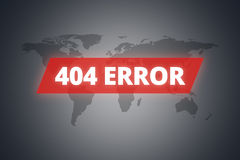 404 Error Message on Screen. 404 error message on technological screen on dark world map background Royalty Free Stock Photo