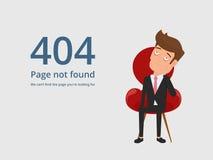 Error no encontrado 404 de la página Hombre de negocios trastornado aburrido cansado que se sienta en silla y que ve el error 404 Imagen de archivo