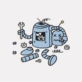 Error no encontrado 404 de la página Plantilla dibujada mano quebrada del vector del robot Foto de archivo libre de regalías