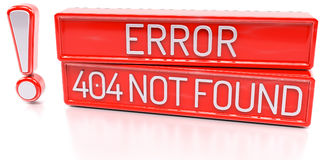 Error 404 Not Found - 3d banner,  on white background. Error 404 Page Not Found - Alert - red 3d banner with exclamation mark,  on white background Royalty Free Stock Image