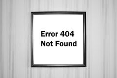 Error. 404 not found. Picture on a wall Royalty Free Stock Image