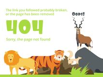 Error 404. Not found web site page with warning message. Vector template with wild animals illustration vector illustration