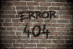Error 404. On old brick wall stock image