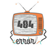 404 error, old funny tv with glitch screen, vector illustration Stock Image