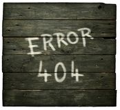 Error 404. On old wooden planks royalty free stock photo