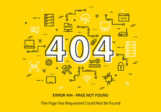 Error 404 page with datacenter. Server elements vector illustration on yellow background. Broken web page graphic design. Error 404 page not found creative Royalty Free Stock Photo