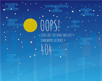 Error page flat template with moon and starry sky Royalty Free Stock Images