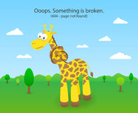 404 error page with knotted giraffe. 404 Page not Stock Images