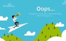 Error 404 page layout vector design. Website 404 page creative concept. Stock Images